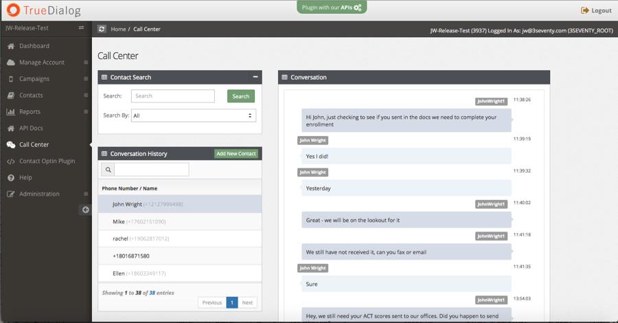 TrueDialog Software - Call center functionality