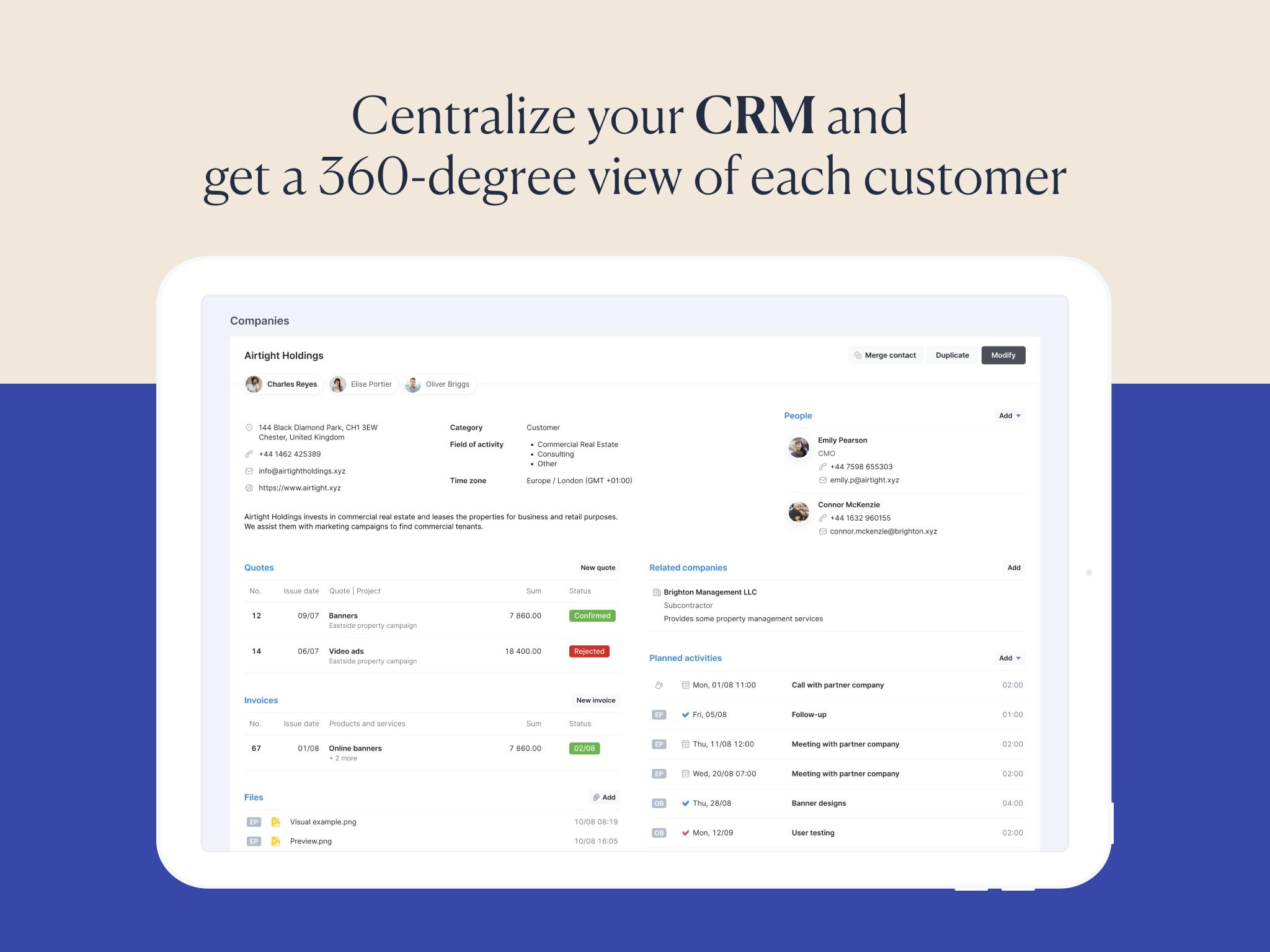 Scoro Software - Centralized CRM