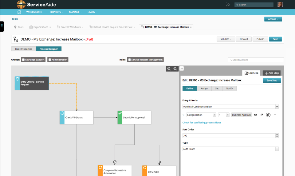 Intelligent Service Management screenshot: Create and modify processes using the visual drag-and drop workflow editor