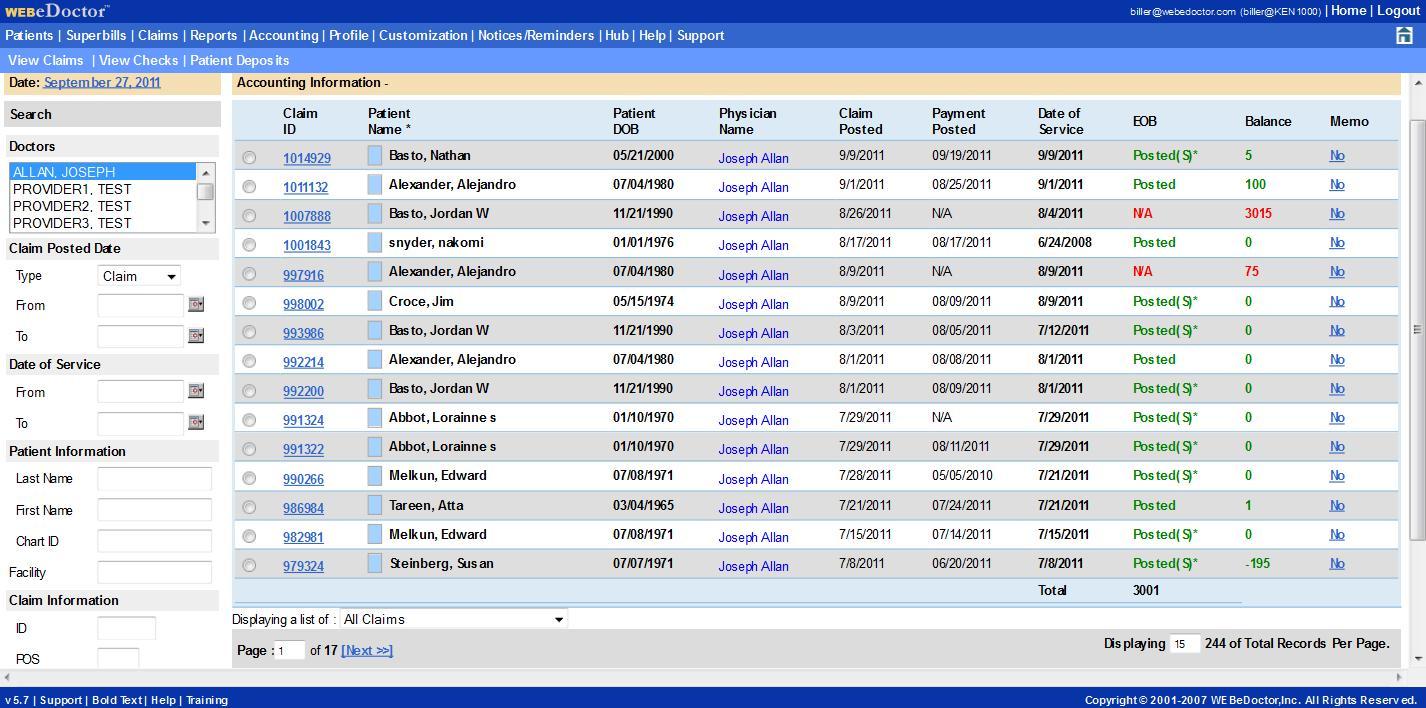 WEBeDoctor Software - WEBeDoctor's Accounting Module