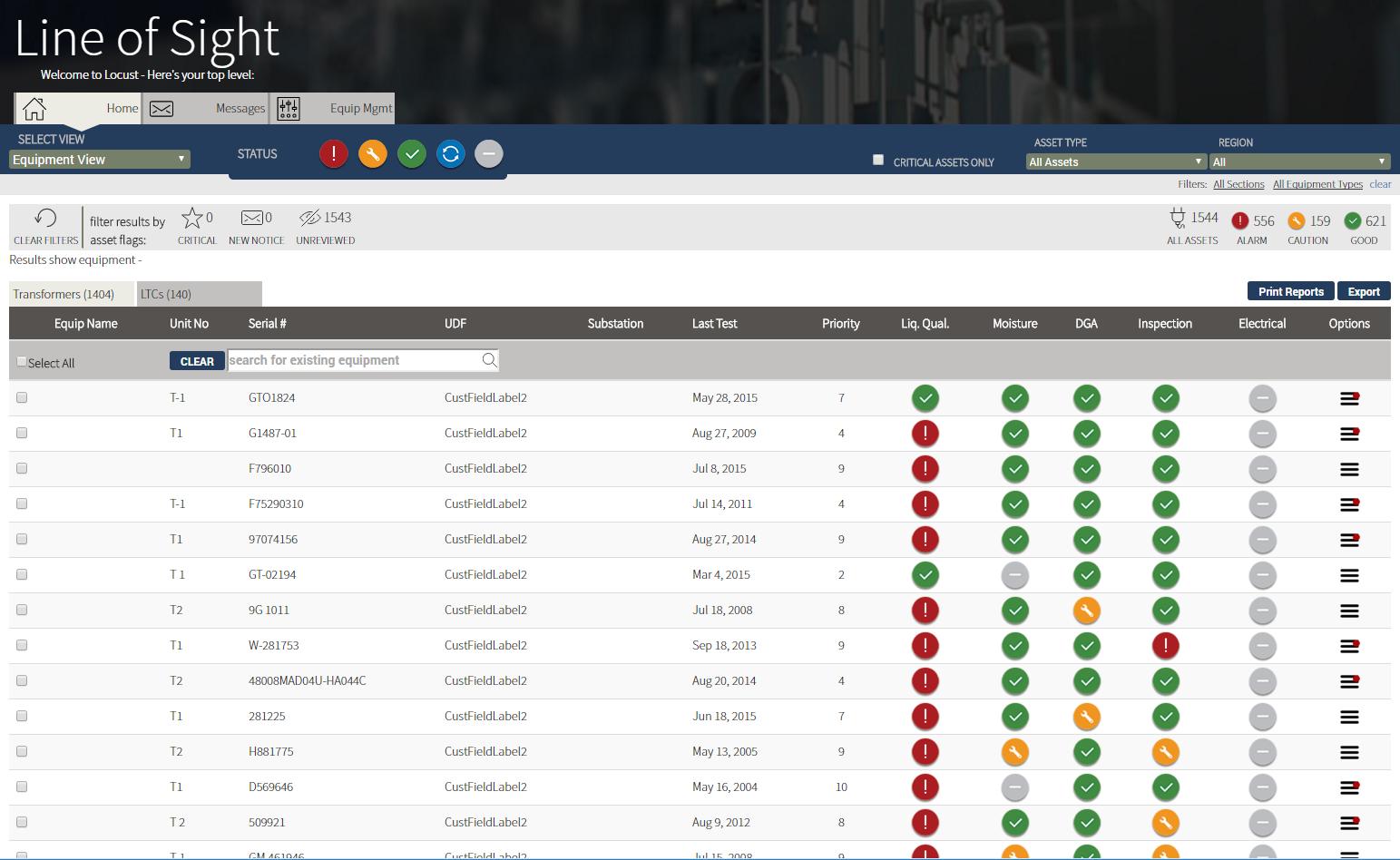 SiteLine Software - Equipment list