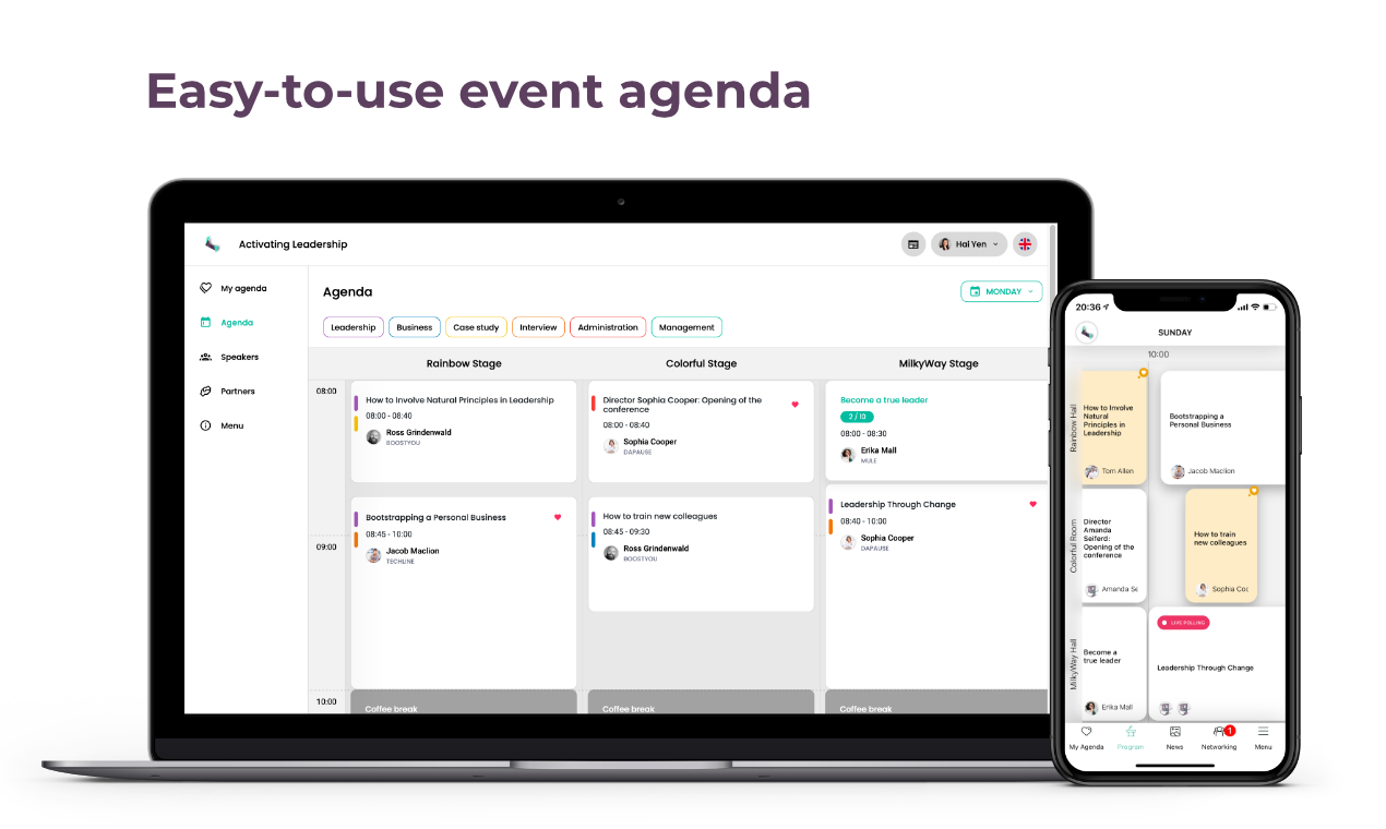 Beautiful Well-arranged Agenda with multiple days and stages, the possibility to book seats and create attendees' personal schedules.