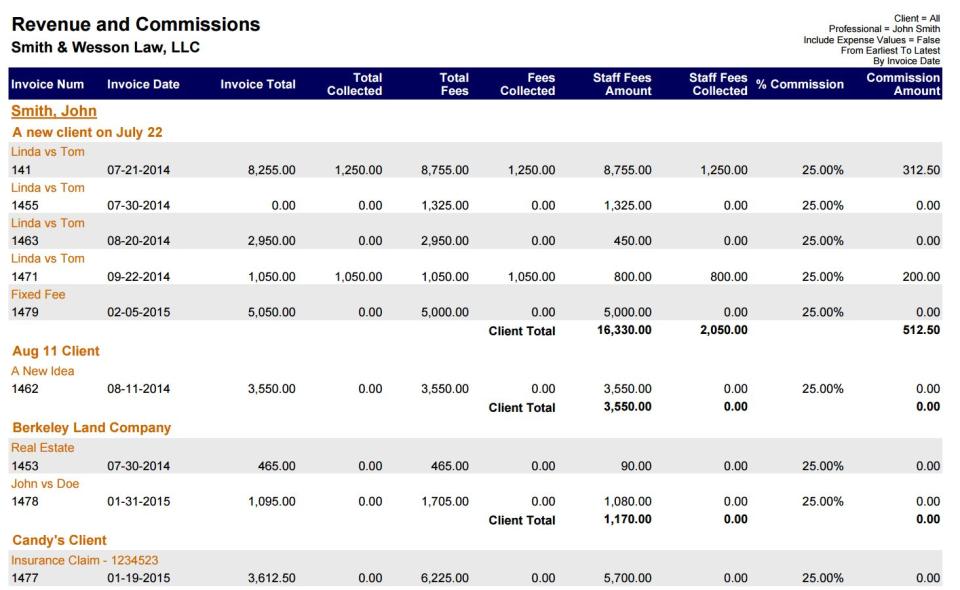 TimeSolv Legal Billing revenue report
