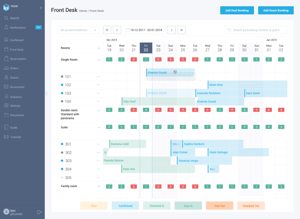 HotelFriend Software - Use the front desk system to manage reservations, view upcoming guests, and check room availability