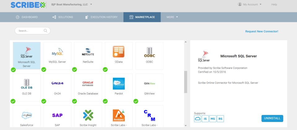 Select from dozens of pre-built connectors for applications and technologies from the Scribe online marketplace
