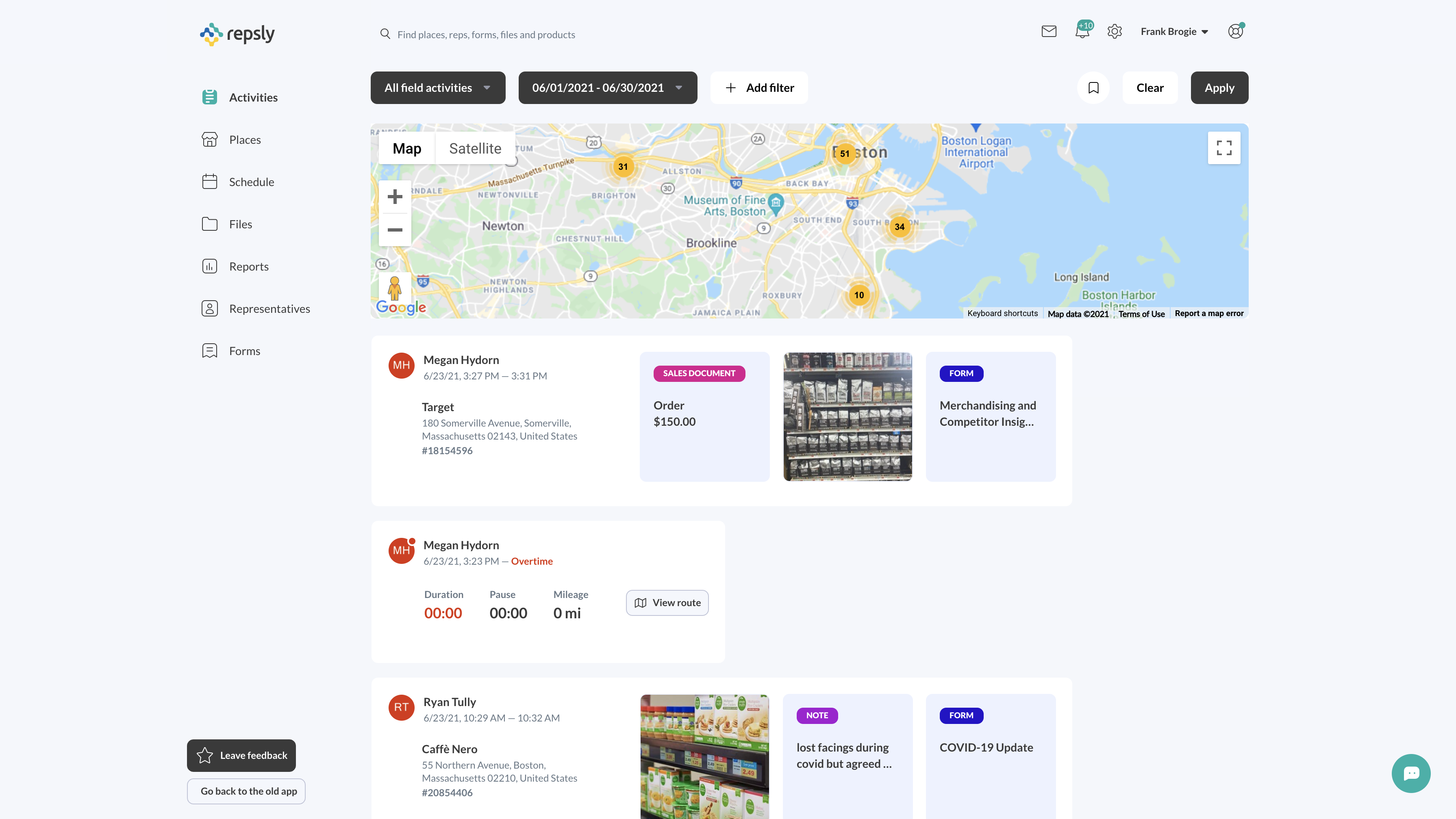Repsly Field Sales Activity Feed - Web-based View
