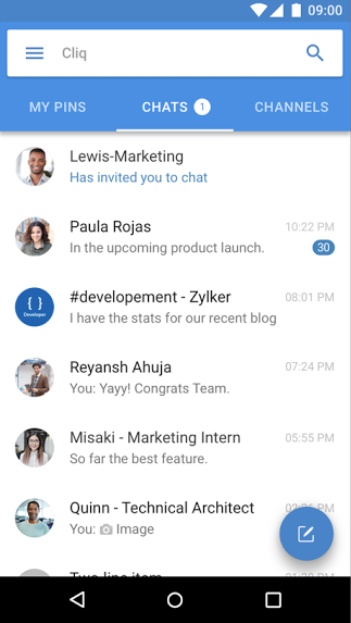 Zoho Cliq mobile chat