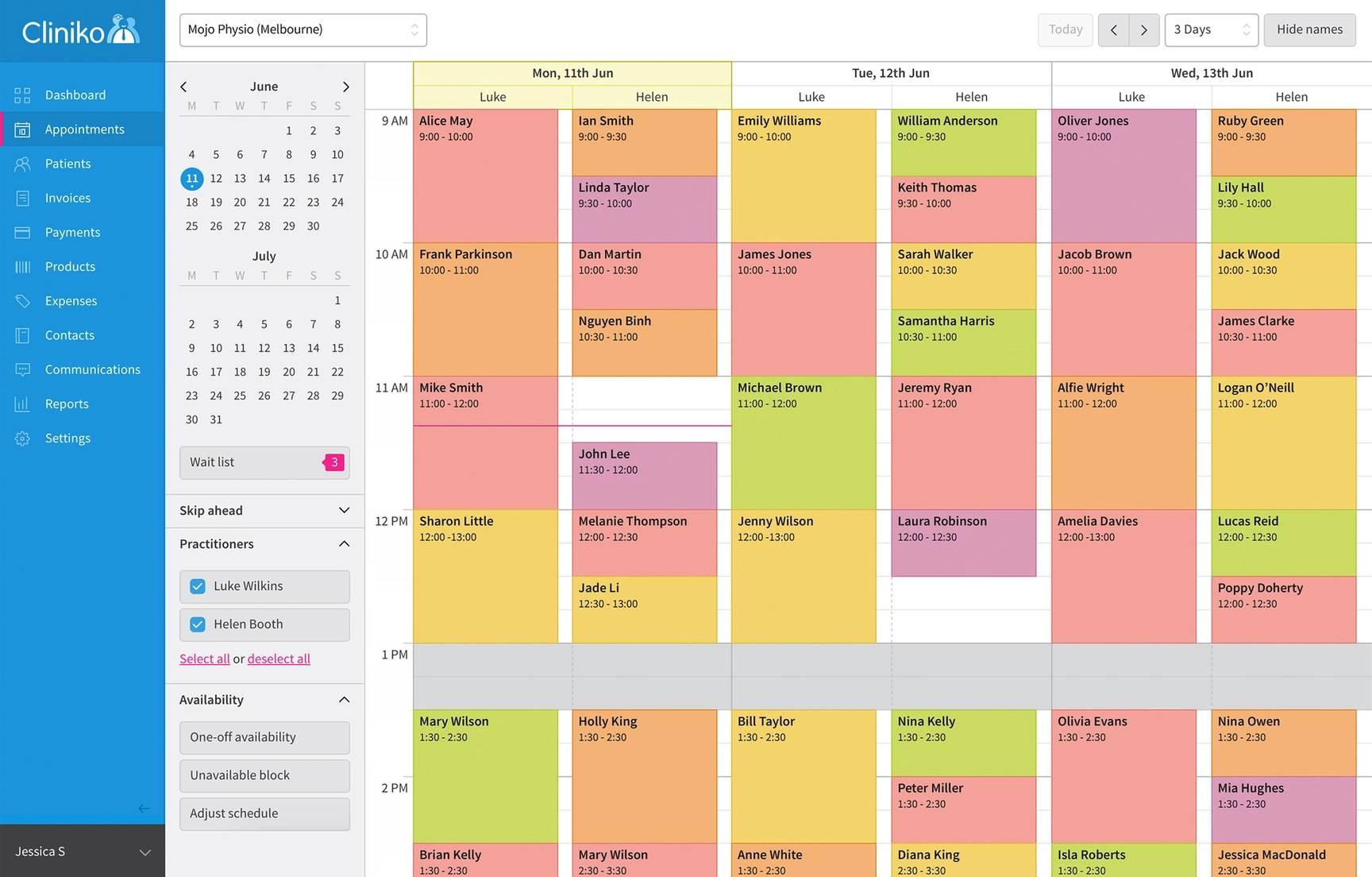 Cliniko calendar view