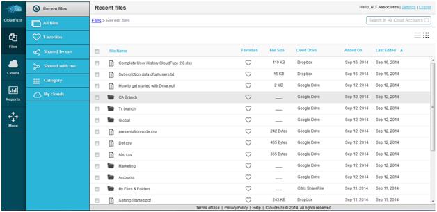 CloudFuze screenshot: CloudFuze file search