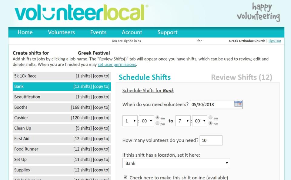 VolunteerLocal Software - Build volunteer shifts