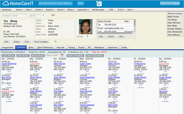 Home Care IT employee database