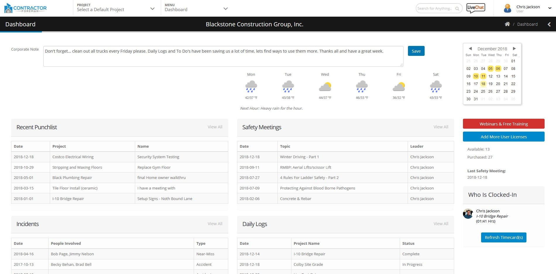 Contractor Foreman Software - Dashboard