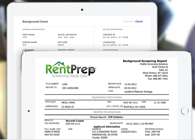 Generate a background screening report on potential tenants