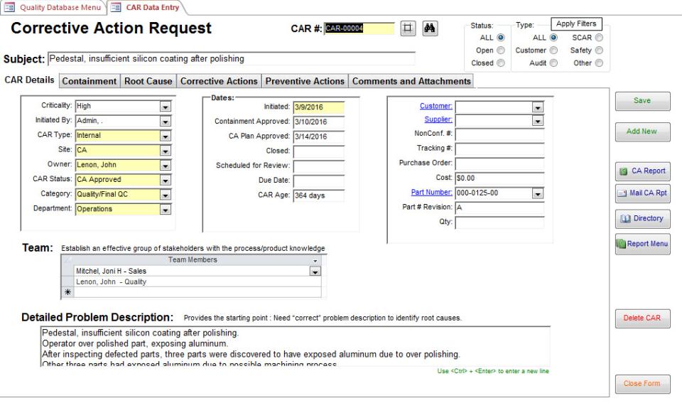 SBS Quality Database Logiciel - 3