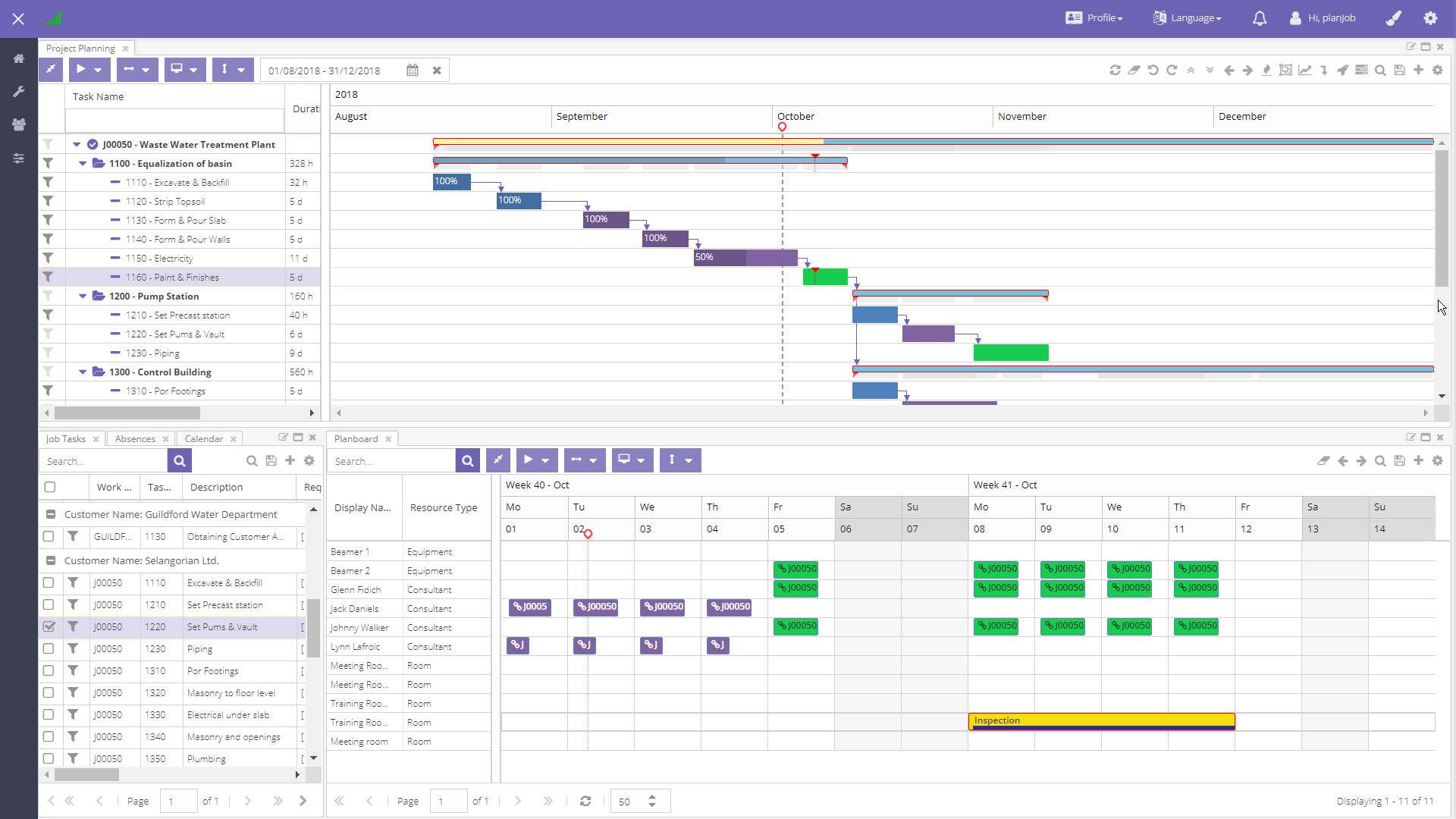 Manage your project with the Gantt chart and link it to the resource planning in the planning board.