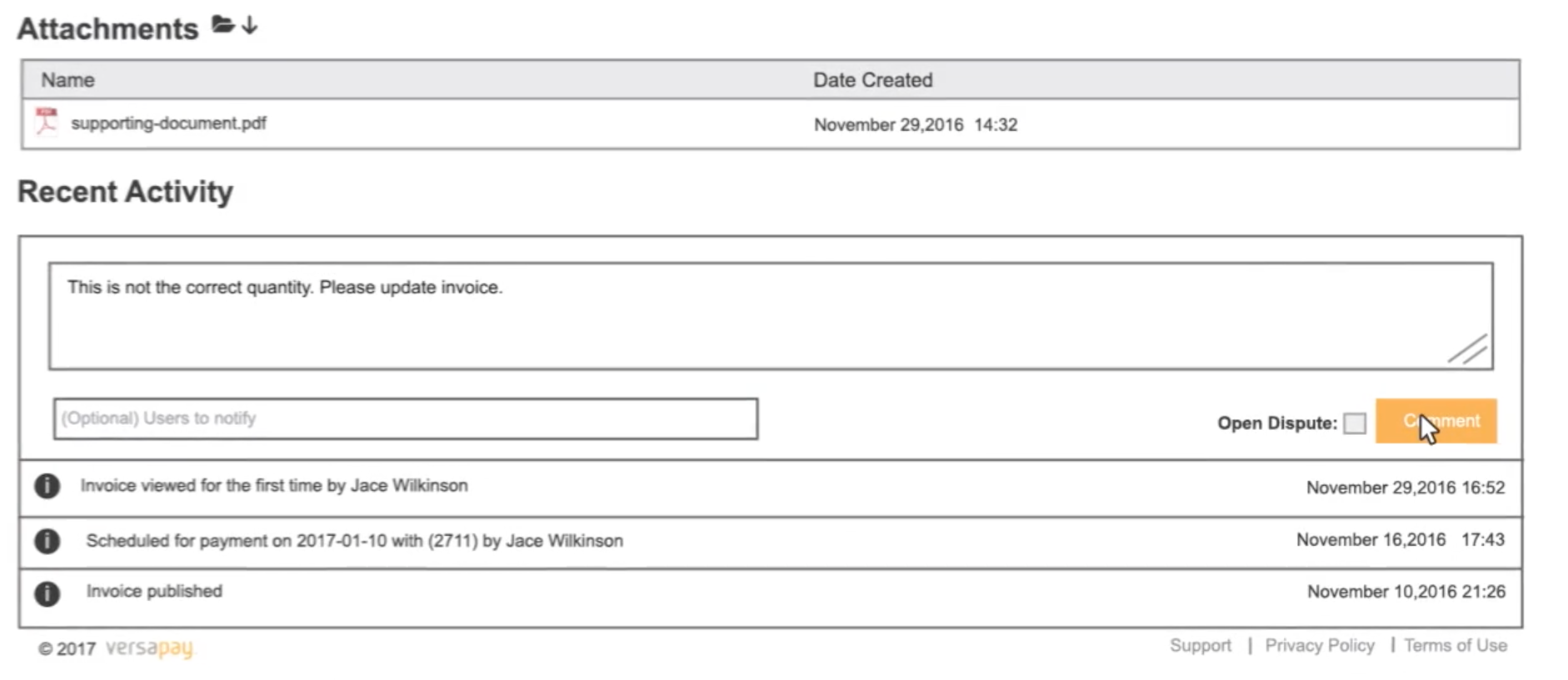 Attach supporting documents and track recent invoice activity