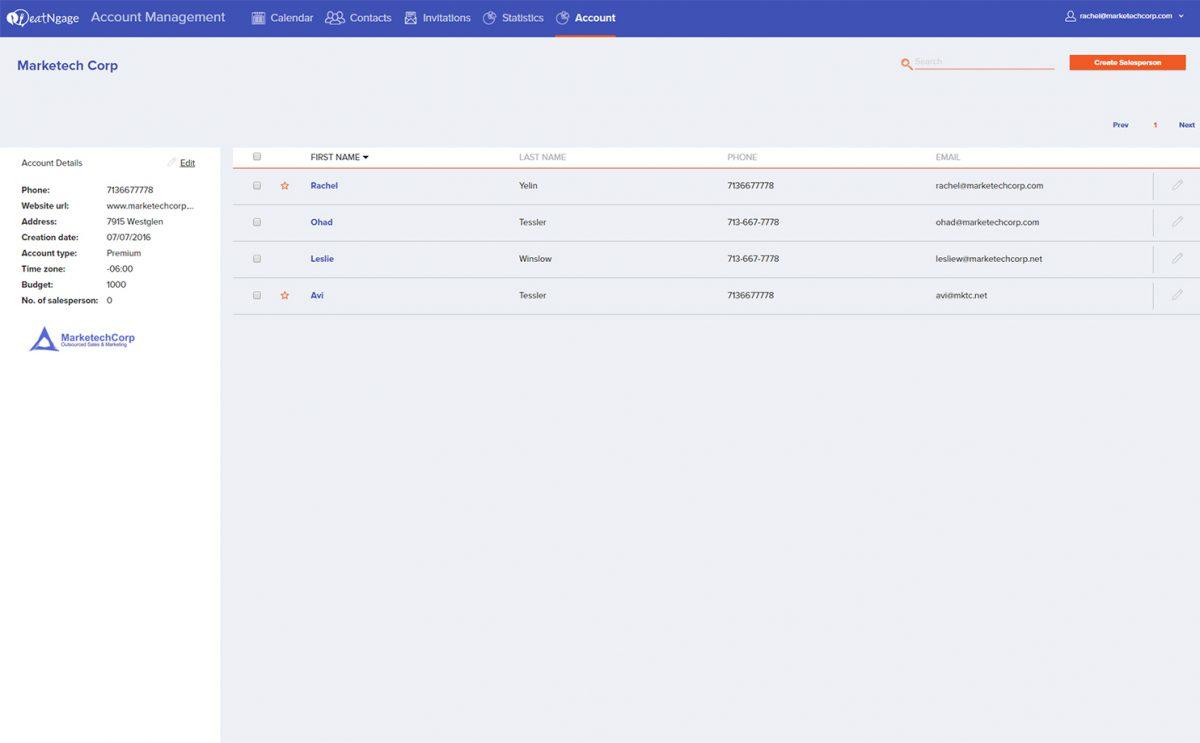 eatNgage screenshot: eatNgage team managememt