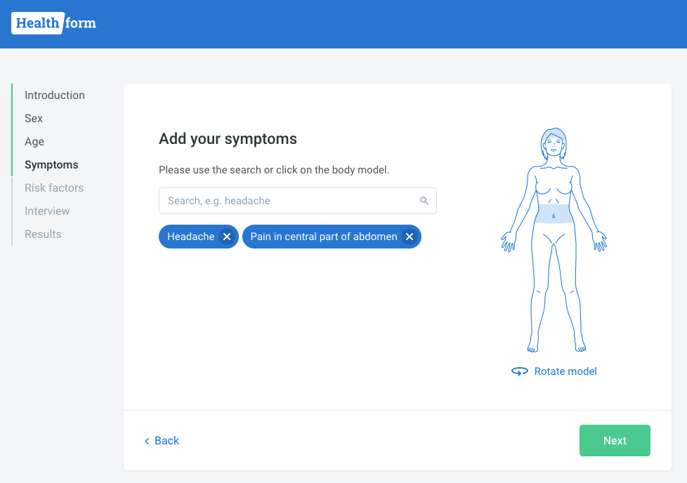 Symptoms can be added by selecting relevant body parts