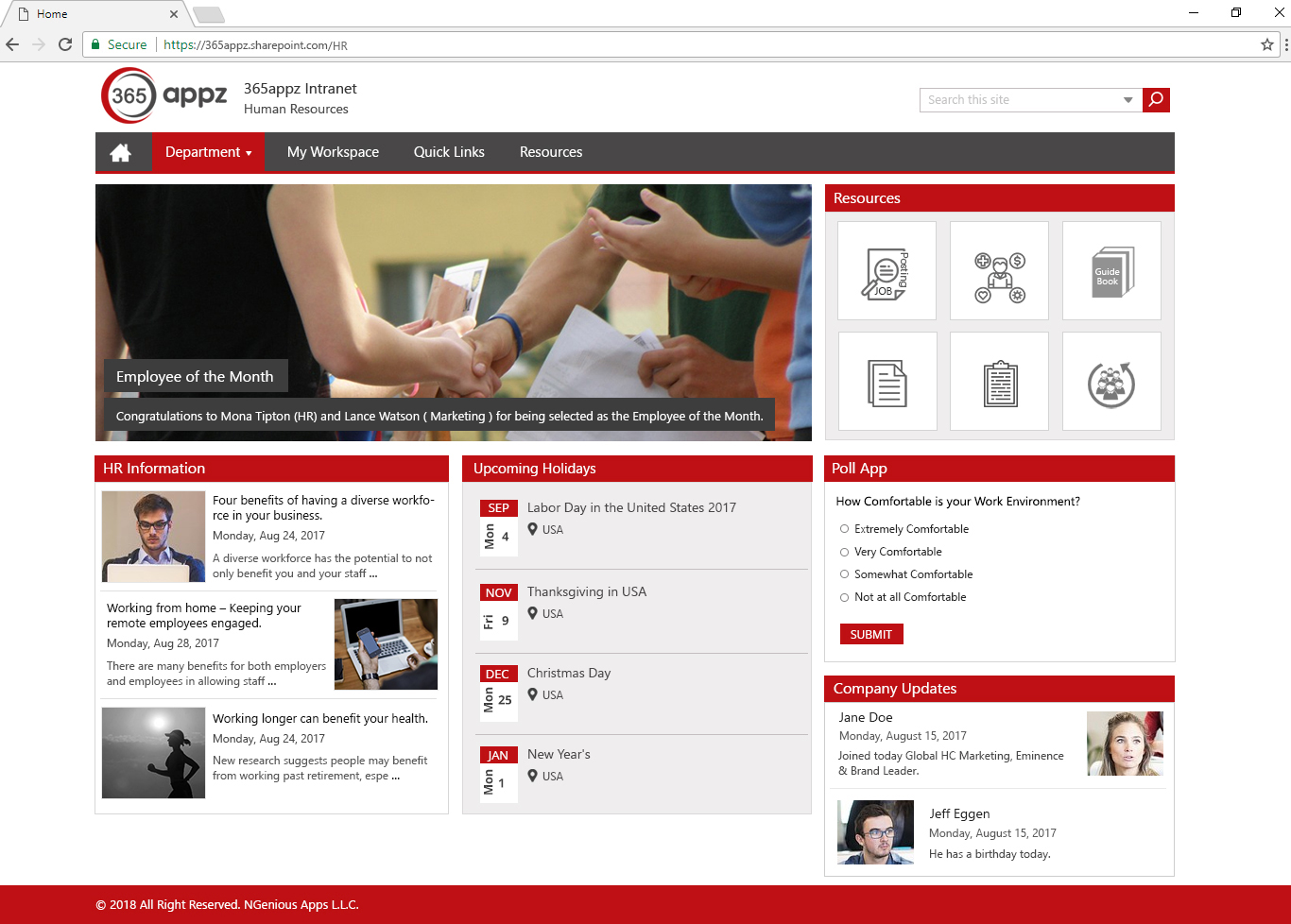 Example HR department page