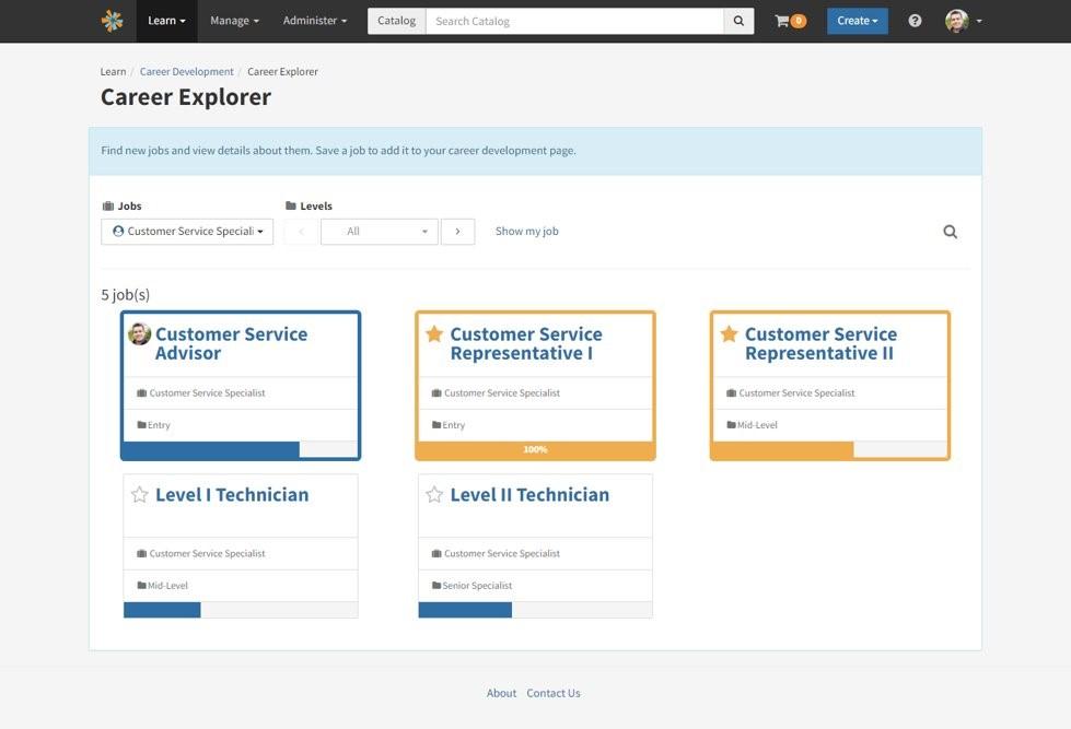 Career development screen