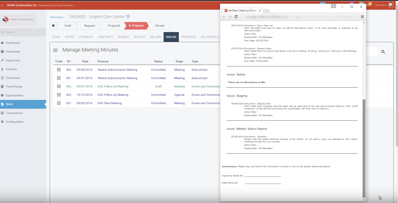 Meeting minutes and agendas can be stored and shared within RedTeam