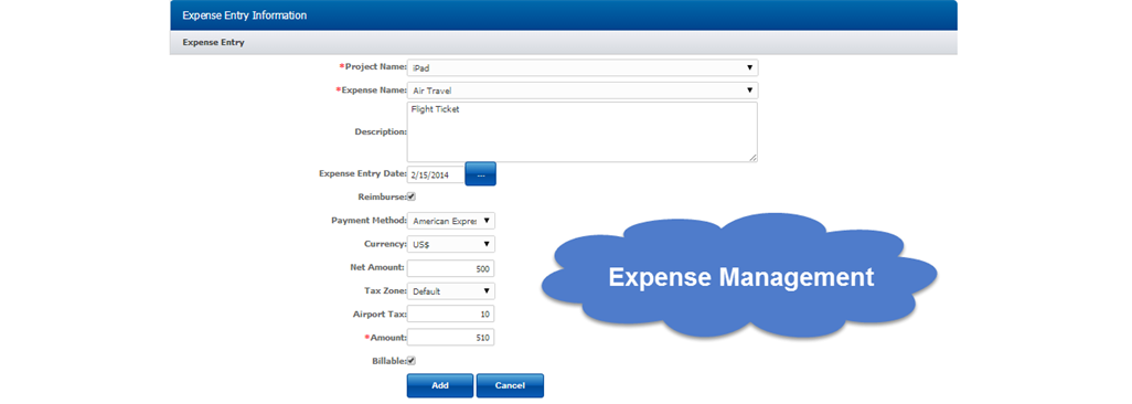Expense sheet Screenshot. Enter line items in each expense sheet. The expenses can be in multiple currencies and the reimbursement can be claimed in home currency.
