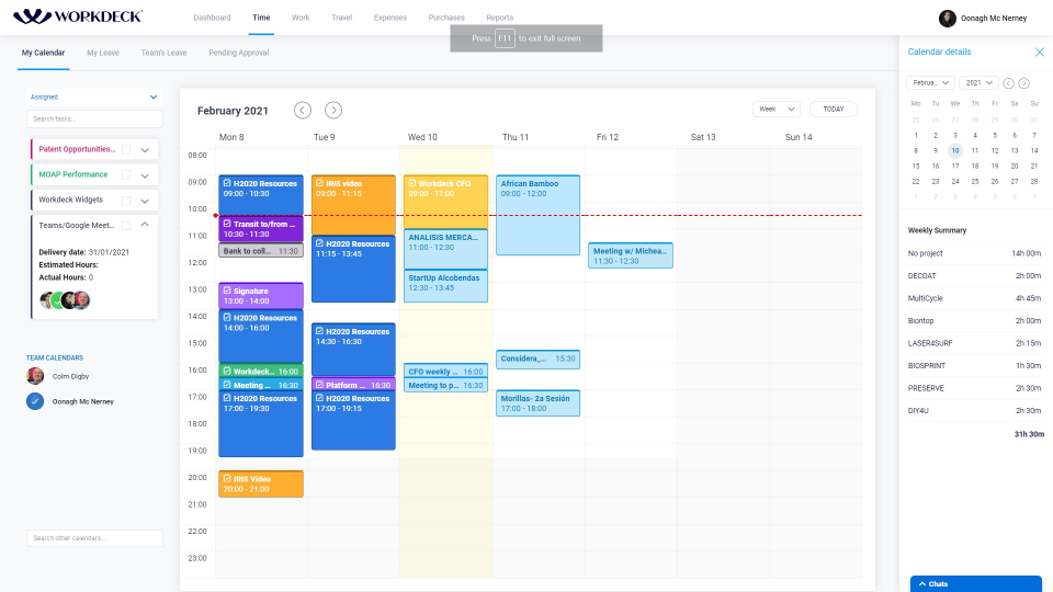 Linked with the Task Board for fluid Work planning. Embedded time-sheet functionality (submission and approvals). Integrated with Google Calendar and Microsoft Calendar.