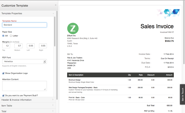 Zoho Invoice - Customize Invoice