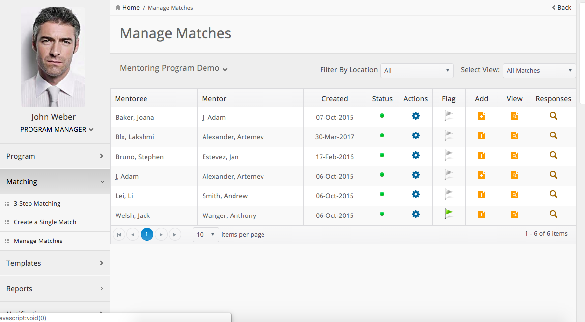 Manage matches
