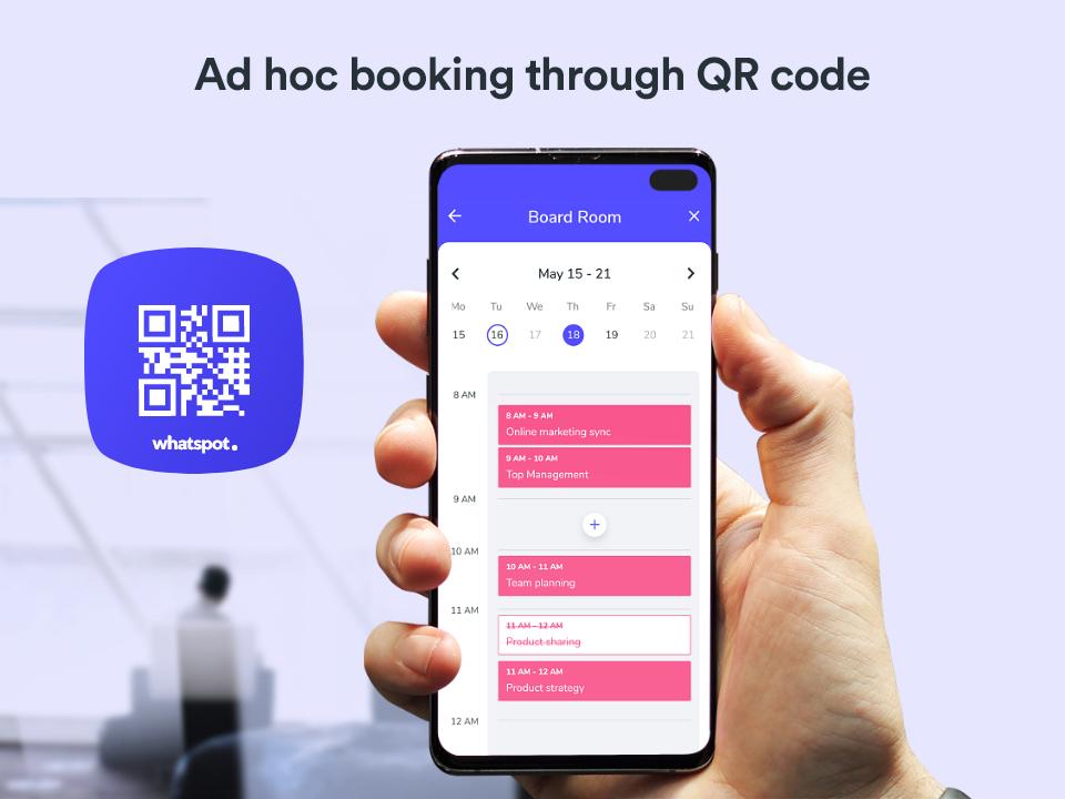 Whatspot screenshot: Whatspot QR code bookings