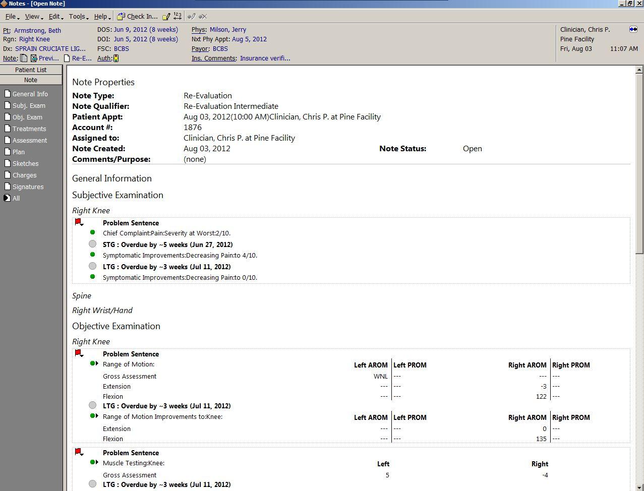 Patient document view screen