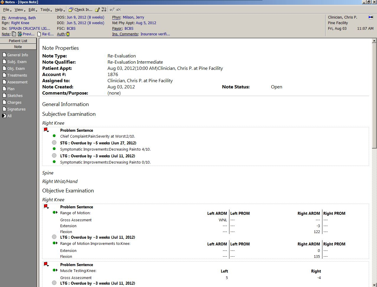TherapySource Software - Patient document view screen