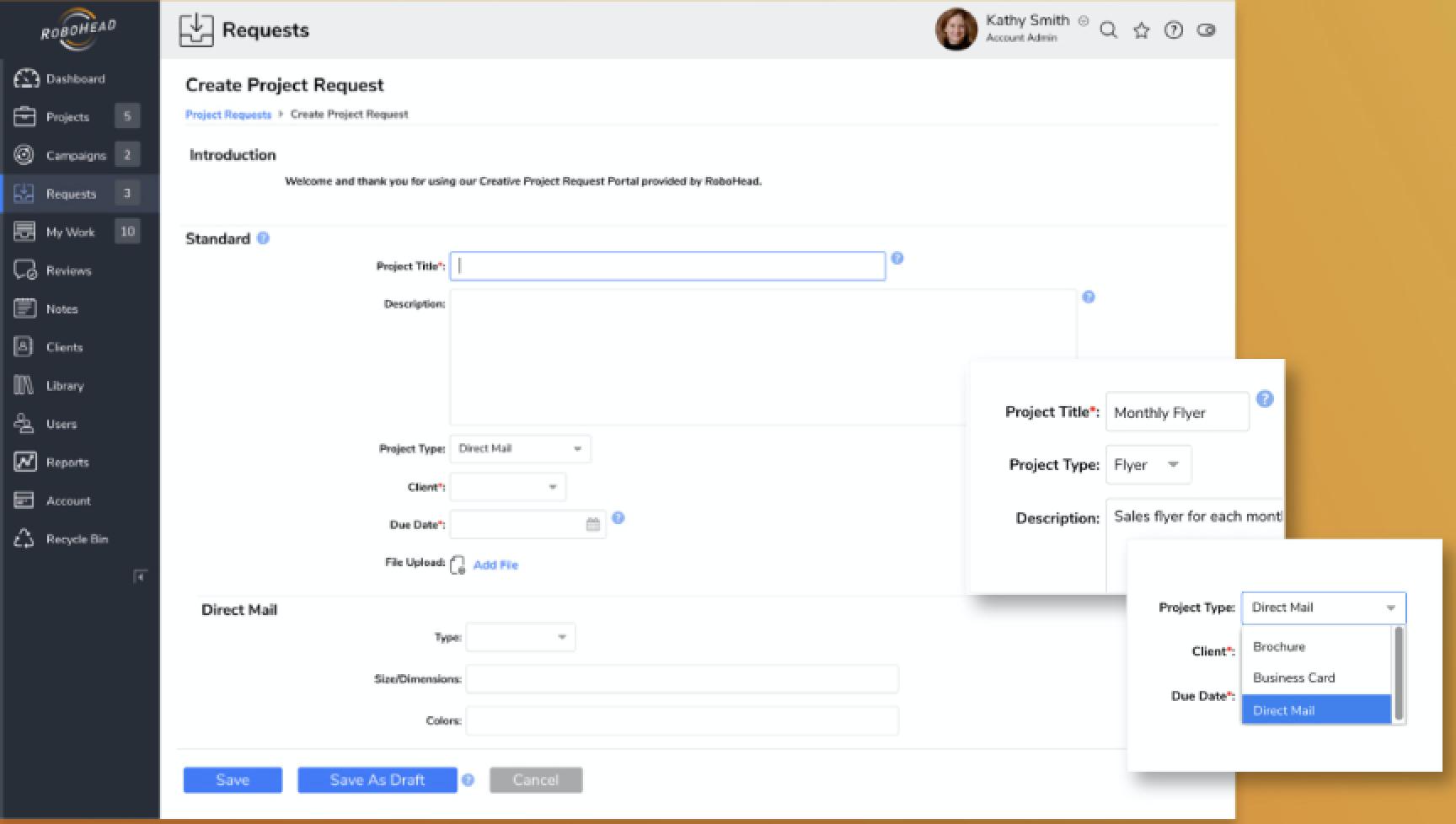 RoboHead customizable request