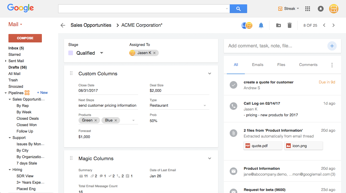 Complete 360 view of the customer right inside Gmail