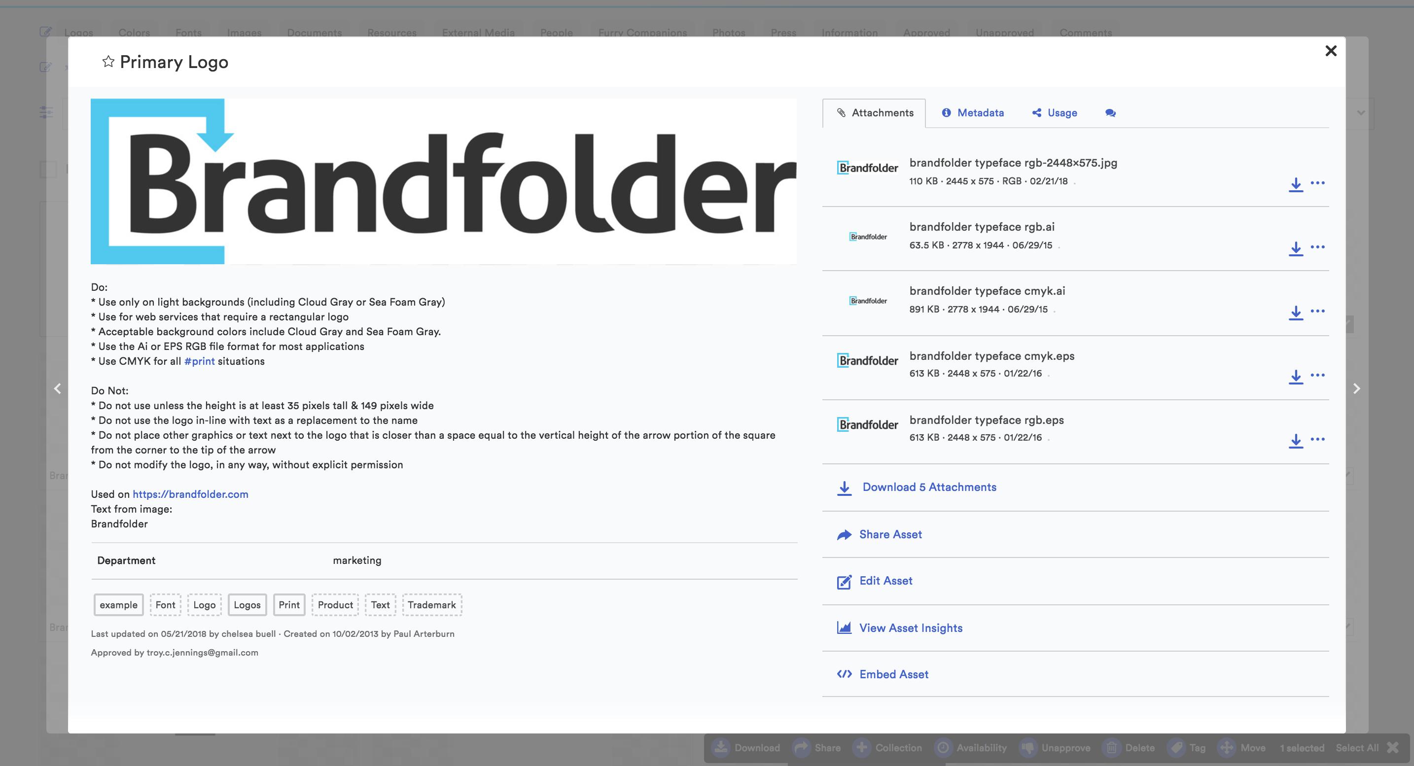 Brandfolder Software - Previewing an individual asset