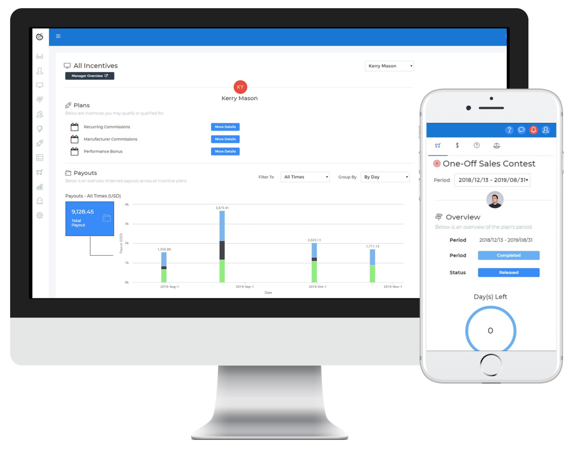 Sales Cookie screenshot: Solve administration headaches and motivate your reps. Each rep gets an online dashboard with goals and payouts. Create complex incentive plans. Run one-shot calculations across all reps.