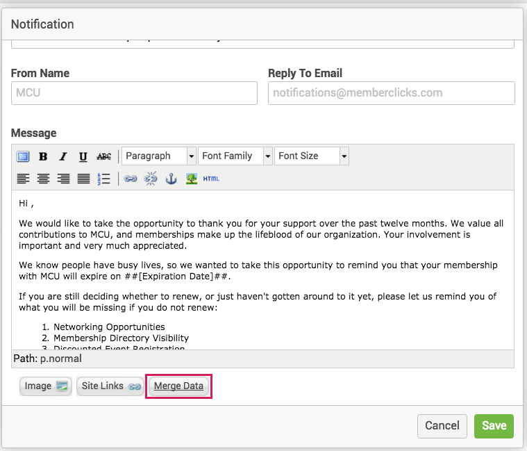 MemberClicks send emails