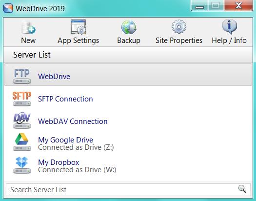 WebDrive screenshot: WebDrive server list