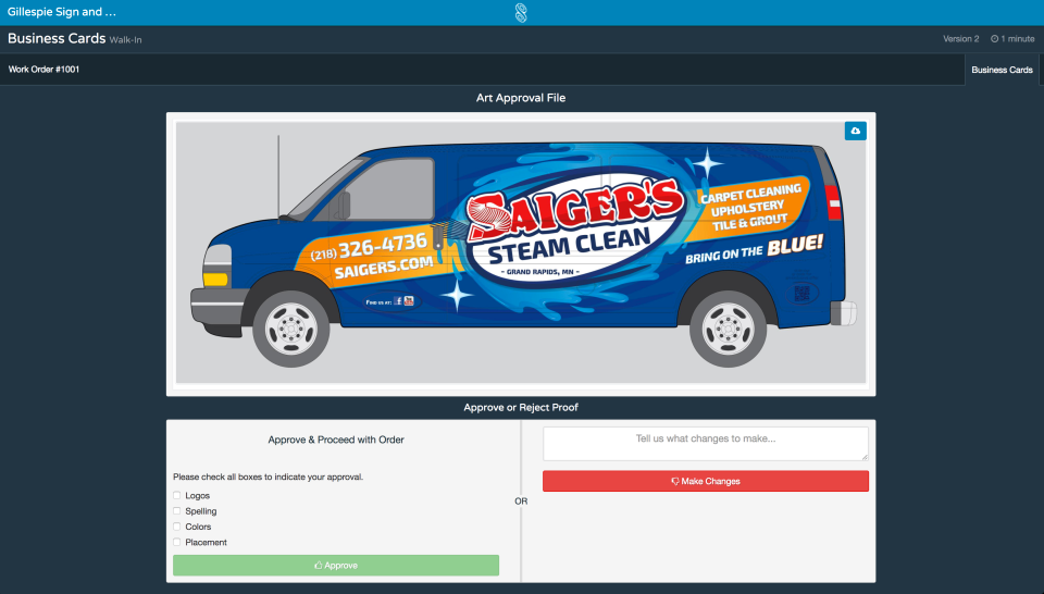 shopVOX Software - shopVOX online proofing screenshot