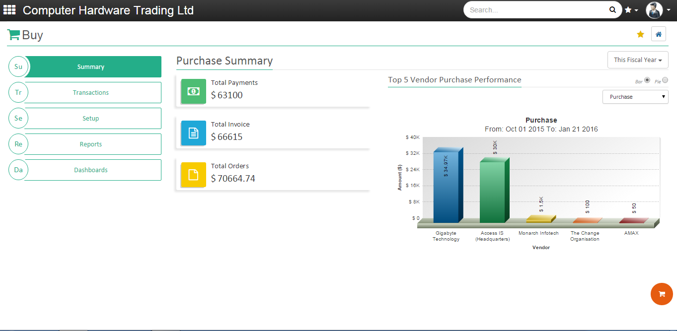OnCloudERP purchase summary screenshot