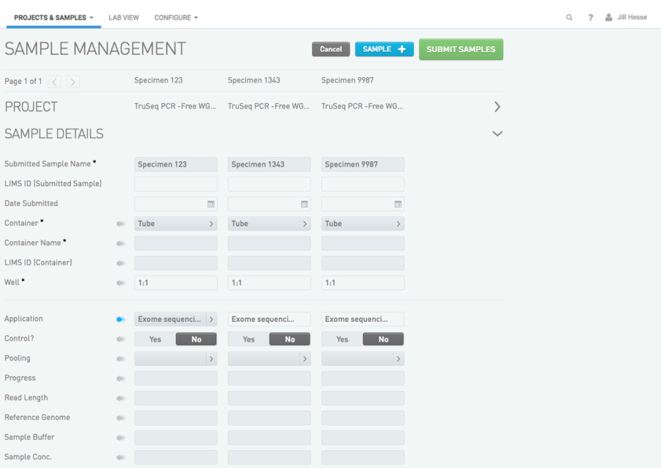 BaseSpace Clarity LIMS sample management screenshot