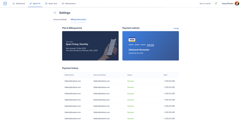 Folderly Software - Billing Page