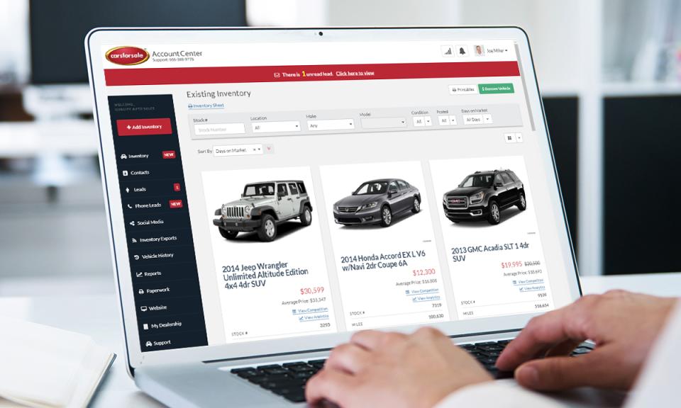 Carsforsale.com screenshot: Create car listings to sell online