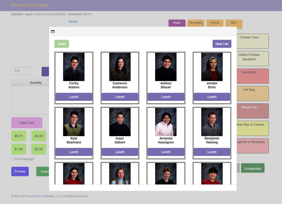 School LunchTime Software student profiles