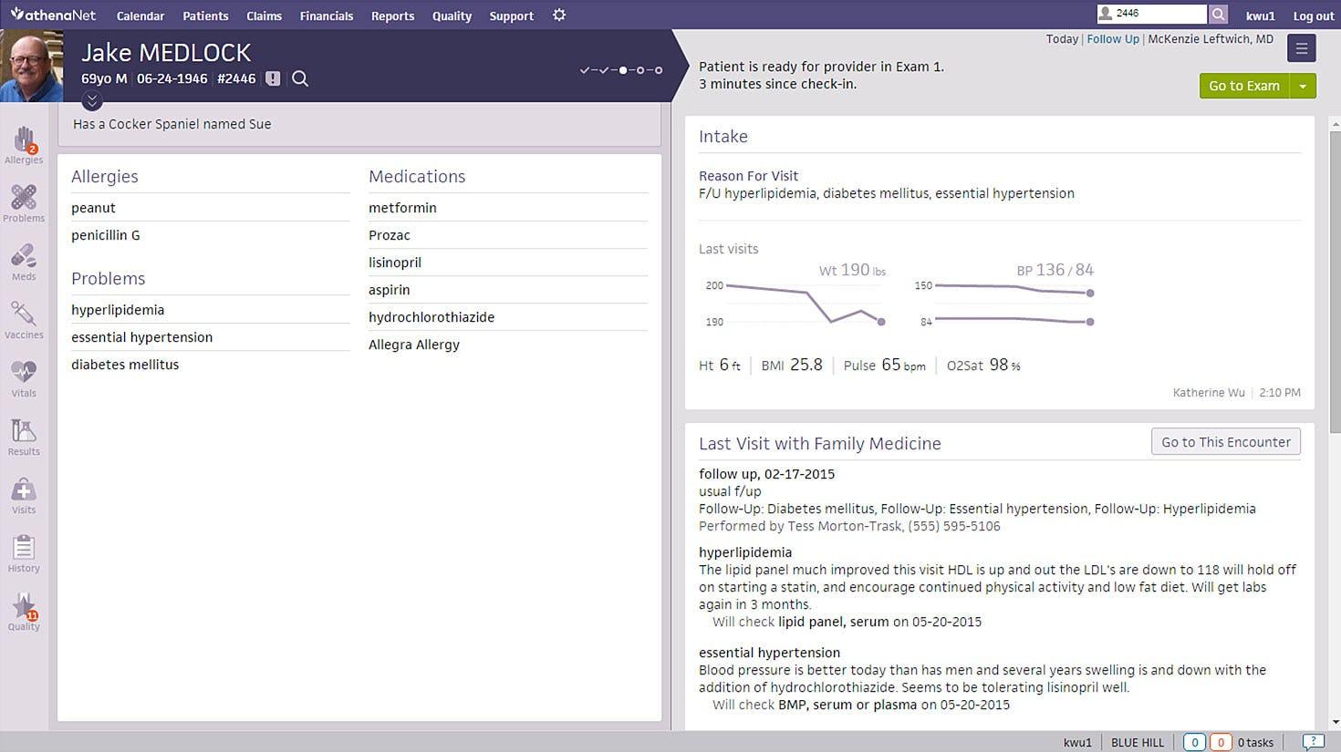 athenaOne Software - Capture patient details