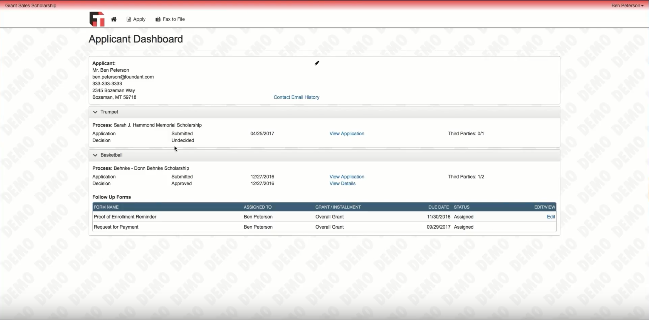 View all submitted and approved applications via the dashboard