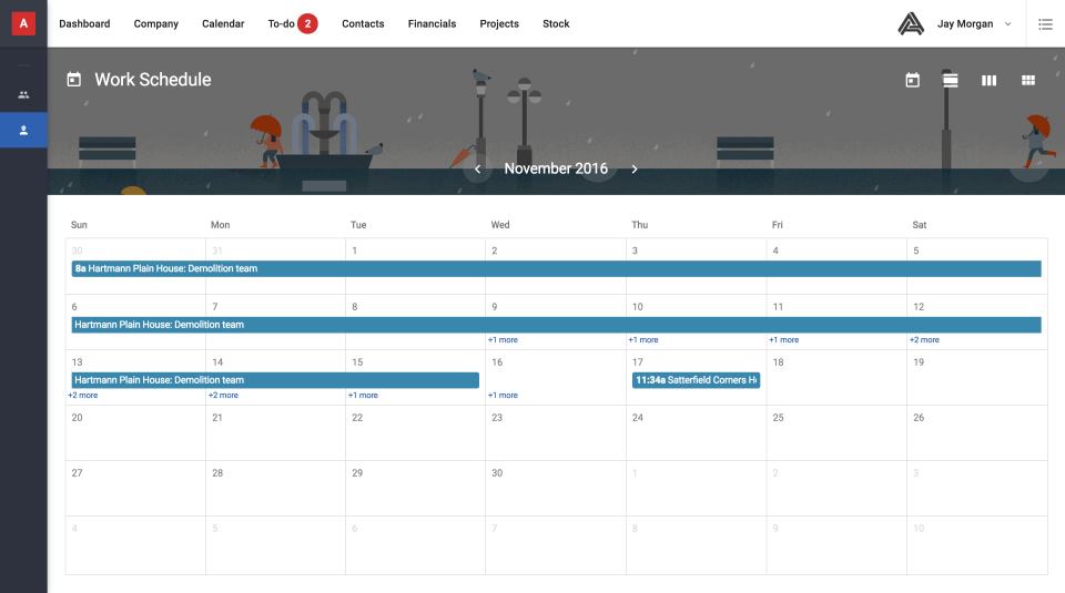 Choose to preview a project schedule as a list or as an intuitive calendar of operations instead