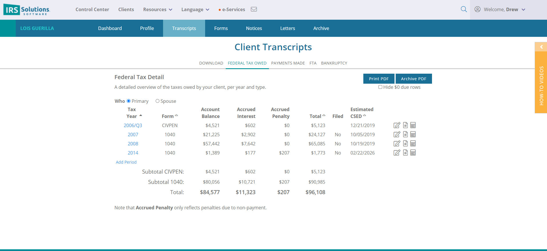 Client Transcripts Federal Tax owed page.