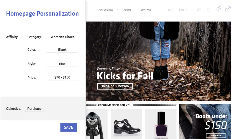 Create a personalized homepage for each user to optimize sales