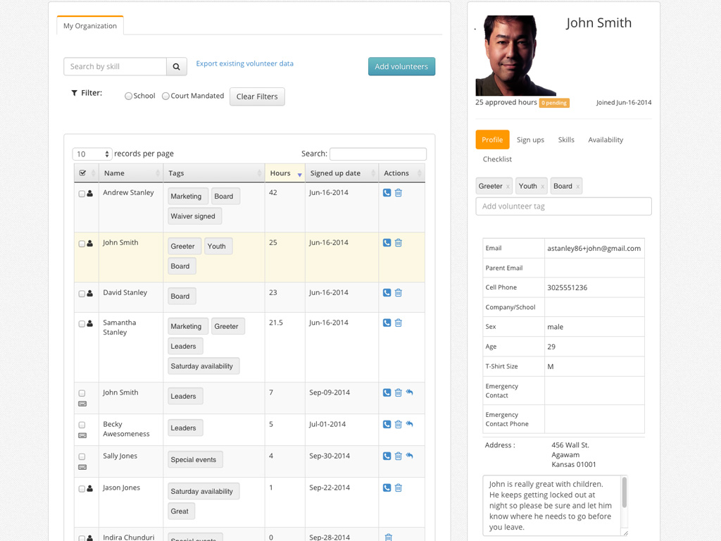 Volunteer profiles, hours tracking, tagging